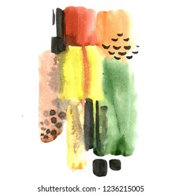 Hand-drawn watercolor abstract artistic composition of a modern art style. Raster illustration with minimalist style.