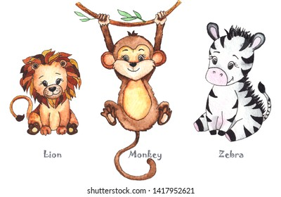 Hand-drawn watercolor children's animals with cute lion, giraffe, elephant, Rhino, monkey, Zebra, crocodile, iguana, wombat, Panda, Koala