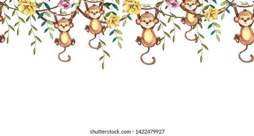 Hand-drawn watercolor children's animals seamless borders with cute lion, giraffe, elephant, Rhino, monkey, Zebra, crocodile, iguana, wombat, Panda, Koala