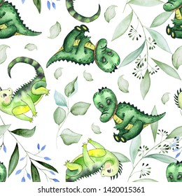 Hand-drawn watercolor children's animals seamless patterns with cute lion, giraffe, elephant, Rhino, monkey, Zebra, crocodile, iguana, wombat, Panda, Koala