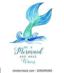 Hand-drawn watercolor beautiful mermaid character illustration. Sea template for poster, card, invitation.