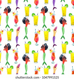 Hand-drawn watercolor beautiful seamless pattern of mermaids and coctails illustration.