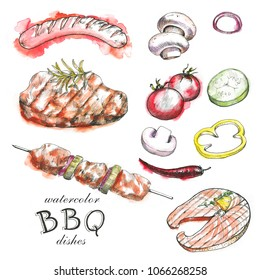 Hand-drawn watercolor collection of the barbecue, different objects: drinks, food, meat and vegetables, different tools and spices. BBQ graphic and watercolor set
