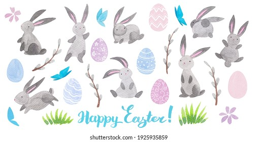 Hand-Drawn watercolor easter set with cute bunnies, willow branc