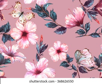 Hand-drawn  watercolor floral seamless pattern with the tender white and pink hibiscus flowers and butterflies. Natural tropical and vibrant repeated print for textile, wallpaper etc. Tropical pattern