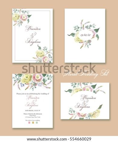 Handdrawn Watercolor Floral Set Wedding Invitation Stock ...