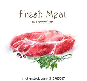 Hand-drawn watercolor food illustration. Fresh meat isolated on the white background. Ingredient drawing