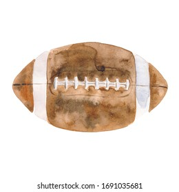 Hand-drawn watercolor illustration: American football ball isolated on white background.