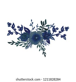 Hand-drawn watercolor illustration. Bouquet floral arrangement. Isolated on white background. Floral Design elements. Perfect for invitations, prints and posters