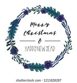 Hand-drawn watercolor illustration. Christmas wreath. Perfect for invitations, greeting cards, blogs, posters and more. Xmas and happy new year