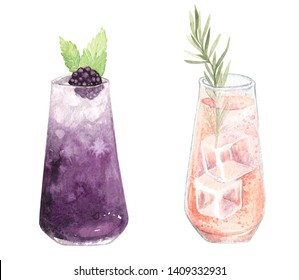 Hand-drawn watercolor illustration of cocktail isolated on white background. Fresh summer drinks. Perfect for postcards, peper, banner, poster,invitation, wallpaper.