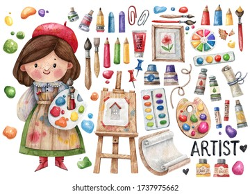 Hand-drawn watercolor illustration with a cute girl artist and her tools -an easel, paints, tubes, palettes, pencils, brushes and others. Cute character artist and artist tools isolated on white
