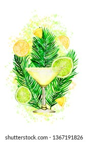Hand-drawn watercolor illustration of daiquiri cocktail with lime on paint splashes. Template for card, banner, fabric, and scrapbooking
