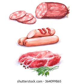 Hand-drawn watercolor illustration of different meat products: fresh meat and sausages. Isolated food drawing