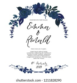 Hand-drawn watercolor illustration. Floral frame on white background. Perfect for wedding invitations, greeting cards, certificates, prints and more