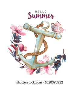 Hand-drawn watercolor illustration of the hibiscus and anchor. Template for greeting card, wedding invitation, advertisement, banner, poster, flyer.