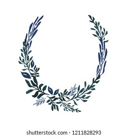 Hand-drawn watercolor illustration. Laurel wreath on white background. Floral Design elements. Perfect for invitations, greeting cards, prints, posters, packing etc