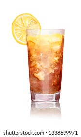 Hand-drawn watercolor illustration of long island ice tea cocktail with lemon and reflection on white background