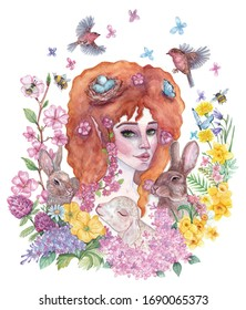 Hand-drawn watercolor illustration on the theme of spring and Easter. Image with a red-haired girl, bunnies, birds and spring flowers for postcards, design, posters, typography and other uses.