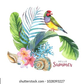 Hand-drawn watercolor illustration of the tropical objects: Leaves, bird, shell and flowers. Template for greeting card, wedding invitation, advertisement, banner, poster, flyer.