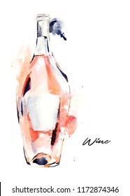 Hand-drawn watercolor illustration of the wine bottle, pink wine. Drawing isolated on the white background.