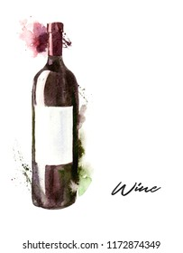 Hand-drawn watercolor illustration of the wine bottle, red wine. Drawing isolated on the white background.