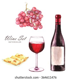 Hand-drawn watercolor illustration of the wine bottle, grape, sliced cheese and one glass of red wine.  Drawing isolated on the white background. Wine set.