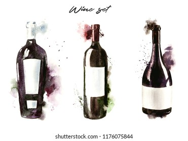 Hand-drawn watercolor illustration of the wine bottles, red wine. Drawing isolated on the white background.