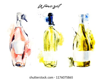Hand-drawn watercolor illustration of the wine bottles, white and pink wine. Drawing isolated on the white background.