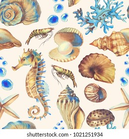 Hand-drawn watercolor sea pattern with shells. Underwater repeated background