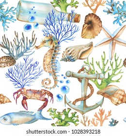 Hand-drawn watercolor sea pattern with underwater object. Underwater repeated background