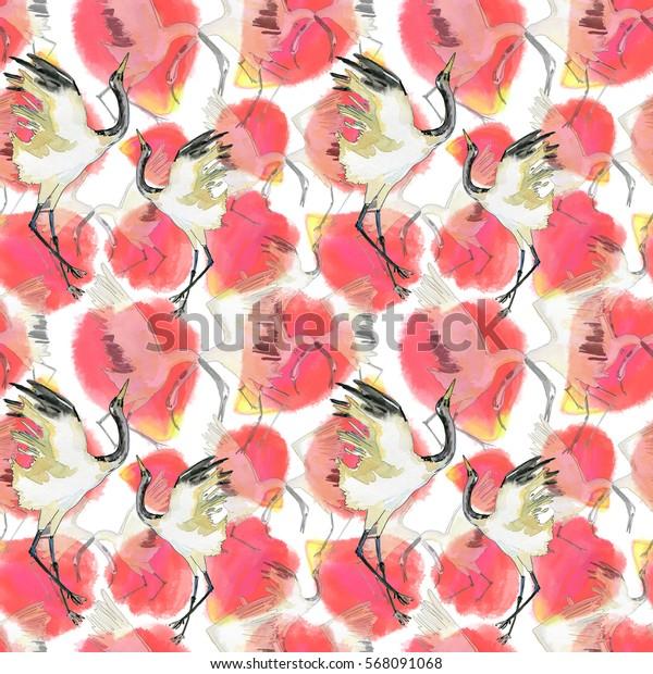 Hand-drawn watercolor seamless background of the Japanese dancing crane and sakura petals.