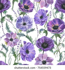 Hand-drawn watercolor seamless floral pattern with beautiful violet anemones and lavender flowers. Repeated print with blossom for the wrapping paper, textile and wallpapers.