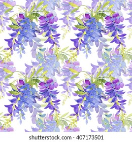 Hand-drawn watercolor seamless pattern with violet tender wisteria flowers. Japanese wisteria blossom on the repeated print for the textile, wallpapers etc