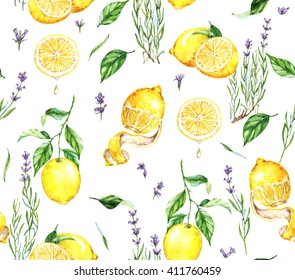 Hand-drawn watercolor seamless pattern with yellow lemons and lavender flowers. Repeated  natural background with fruits and Provence lavender blossom. Print for the textile, wallpaper etc.