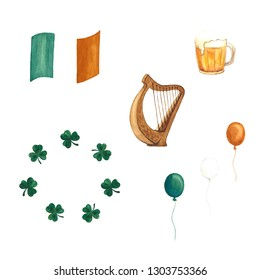 Hand-drawn watercolor set of irish symbols for St. Patrick's day. Isolated on white background