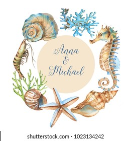 Hand-drawn watercolor underwater background. Tender frame with marine objects. Sea template for greeting card, wedding invitation, advertisement, banner, poster, flyer.