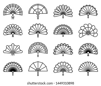 Handheld fan icons set. Outline set of handheld fan icons for web design isolated on white background
