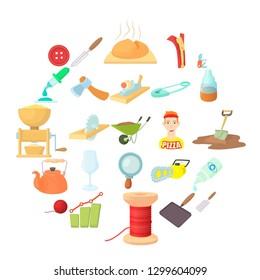 Handicraft icons set. Cartoon set of 25 handicraft icons for web isolated on white background