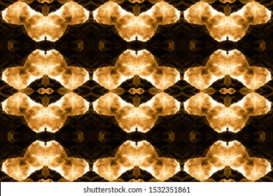 Handkerchief Background. Trendy Style. Seamless Tie Dye. Wintery Gold, Orange On Black. Abstract Turkish Stylized Element. Watercolor Wallpaper On Paper Texture.