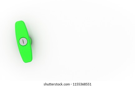 Handle green with lock on white background 3d illustration