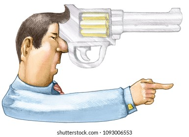the handle of a gun is the profile of an aggressive man