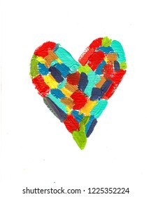handmade acrylic colorful heart pattern