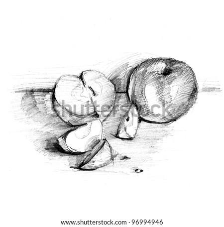 handmade apple pencil draw lead pencilのイラスト素材 96994946