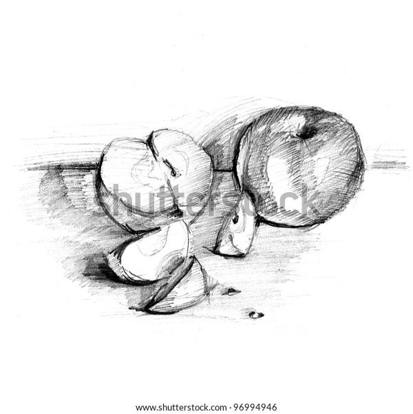 Handmade Apple Pencil Draw Lead Pencil Stock Illustration 96994946