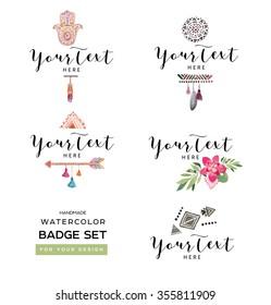 Handmade badge set. Vintage Style. Watercolor Drawing. Logo design elements.