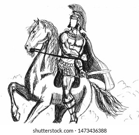 Handmade black and white drawing of a Roman officer riding a horse