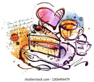 Handmade Cake sketch on white background.