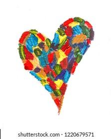 Handmade  colorful acrylic heart shape pattern