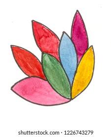 Handmade colorful leaves pattern